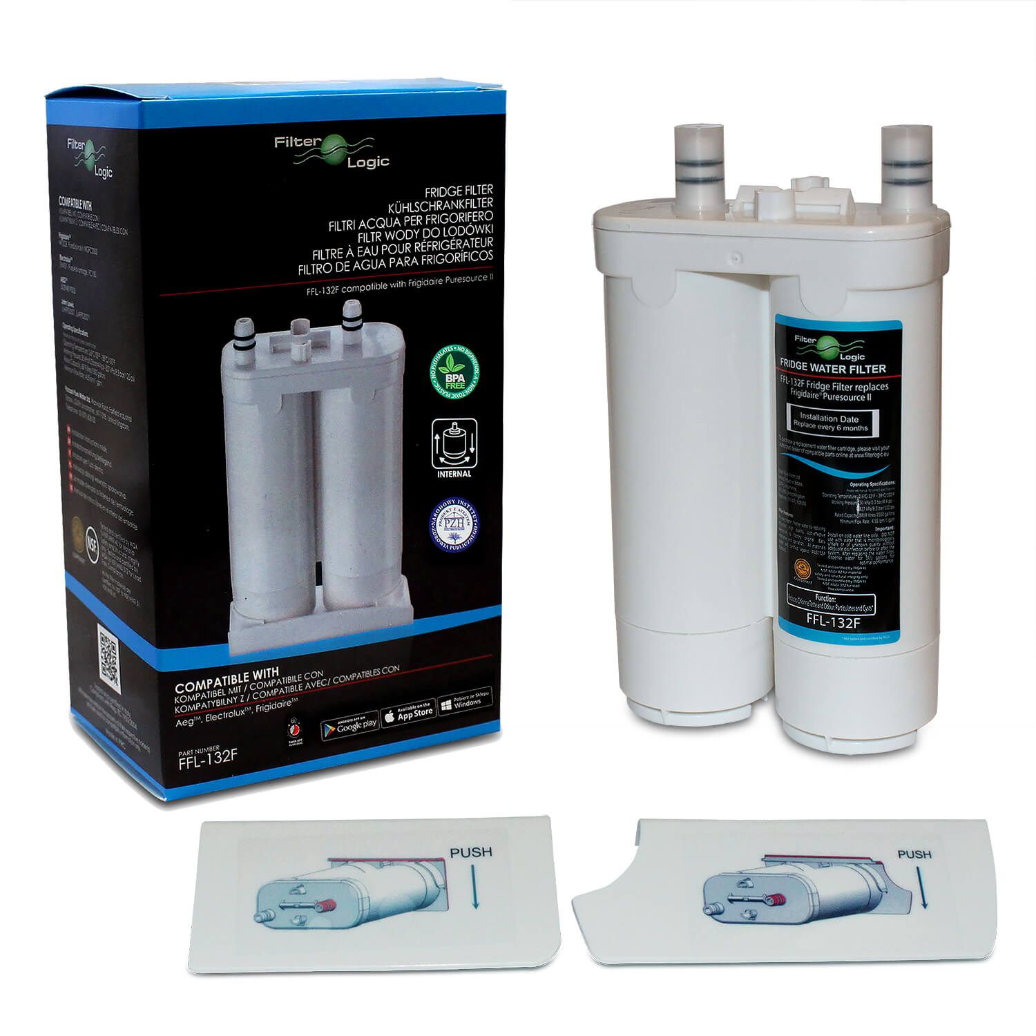 FilterLogic FFL-132F Ice & Water Filter to fit FC100 Frigidaire WF2CB PureSource 2 Fridge